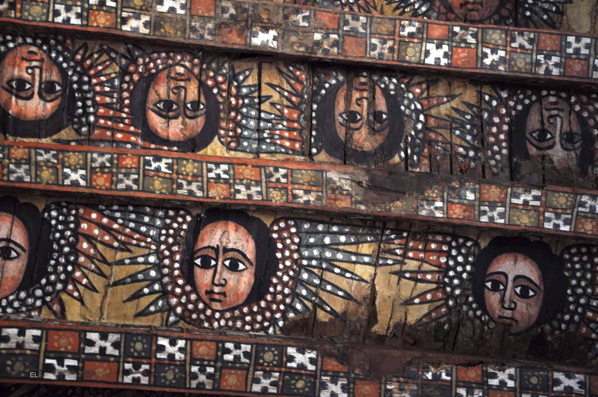 Gondar - plafond de l'église Debre Berhan Sélassié